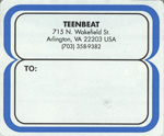 Teen-Beat shipping label 715 North Wakefield Street Arlington Virginia