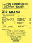 Teen-Beat Night at O'Carroll's Performance flyer Air Miami, Romania, Cath Carroll